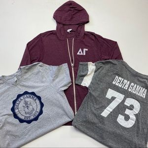 Delta Gamma Zip Up Sweatshirt & Tshirt Bundle Sz L